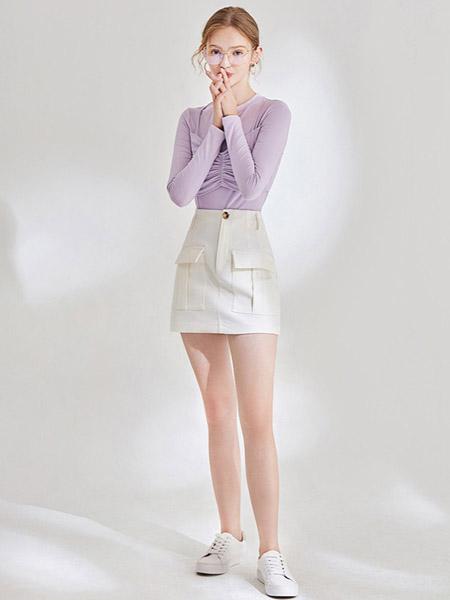 KATYKALEN女装品牌2020秋冬紫色褶皱上衣