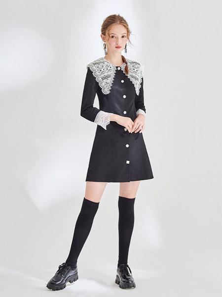 KATYKALEN女装品牌2020秋冬蕾丝领口黑色连衣裙