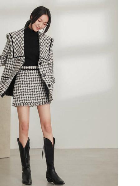 速品女装品牌2020秋冬格子纹碎边裙套装
