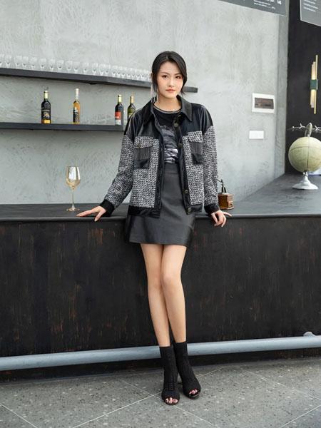 卡索女装品牌2020秋冬撞色短款皮外套