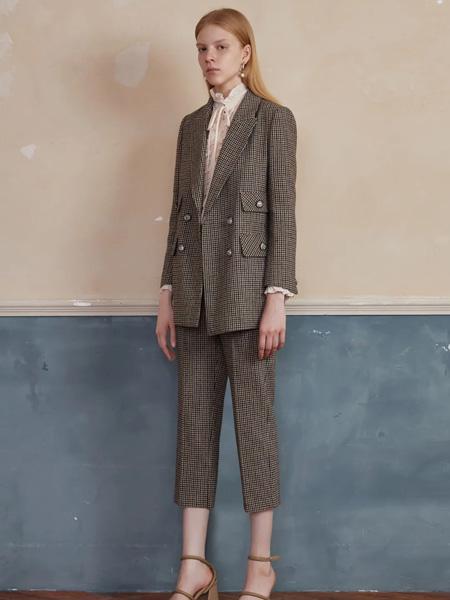 恩瑞妮女装品牌2020秋冬人字纹西服套装