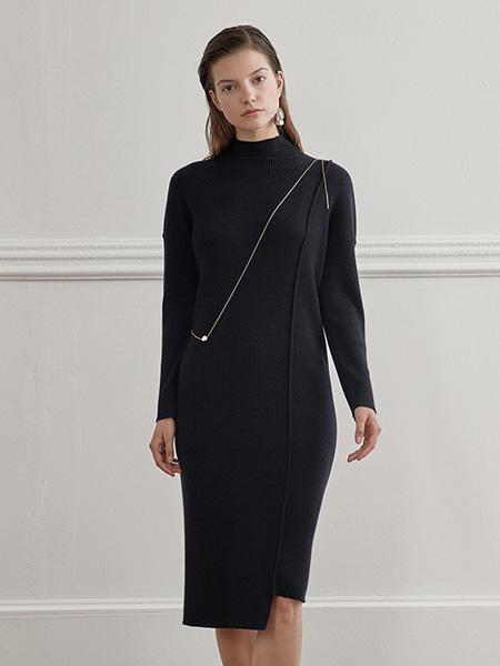 bouthentique女装品牌2020秋冬优雅气质黑包臀裙