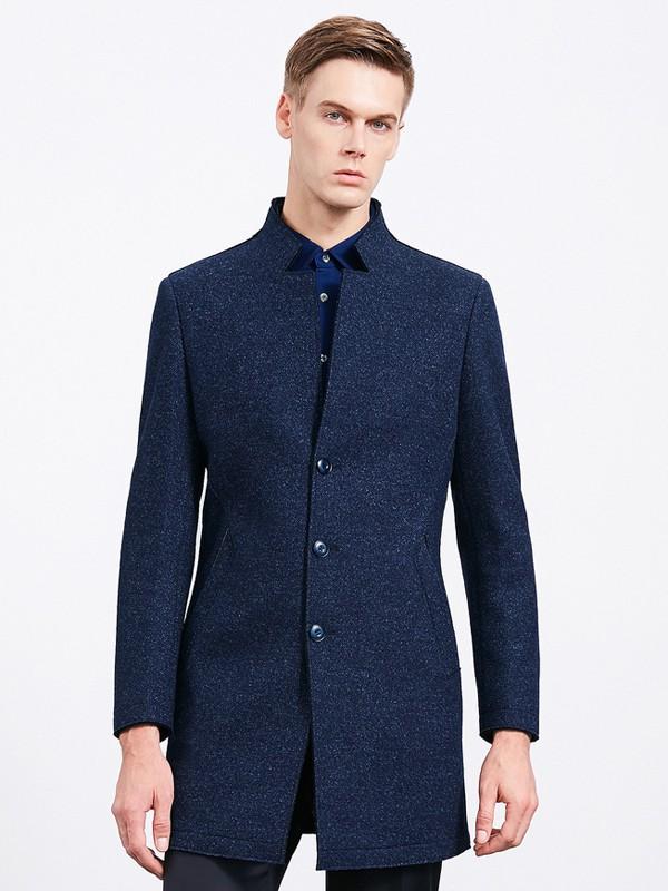 沙驰国际男装品牌2020秋冬中长款深蓝色系扣大衣