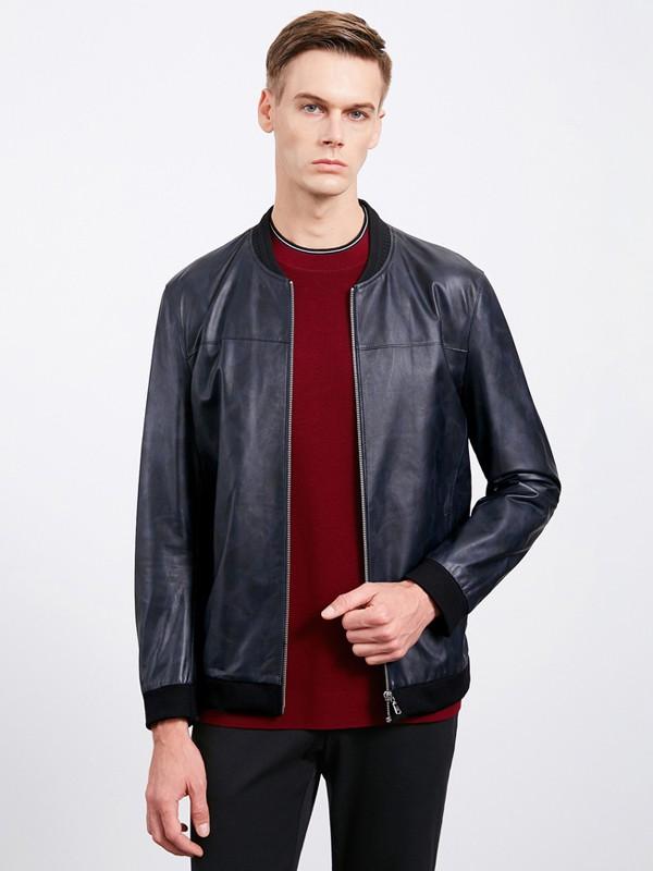 沙驰国际男装品牌2020秋冬黑色男士薄款皮外套