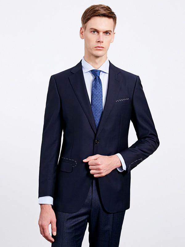 沙驰国际男装品牌2020秋冬深蓝色男士西装