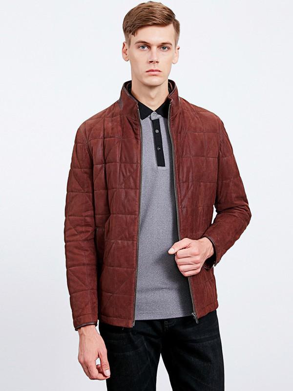沙驰国际男装品牌2020秋冬立领酒红色皮夹克
