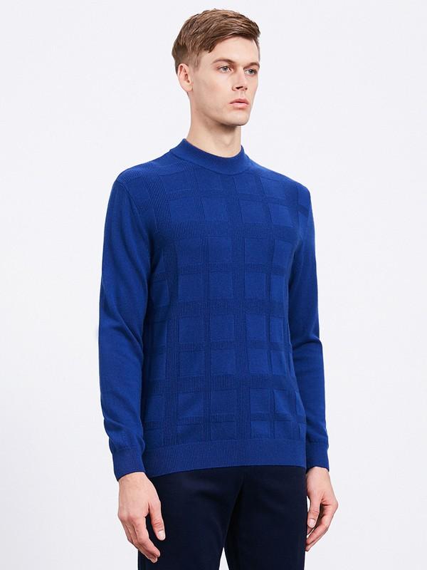 沙驰国际男装品牌2020秋冬蓝色针织卫衣