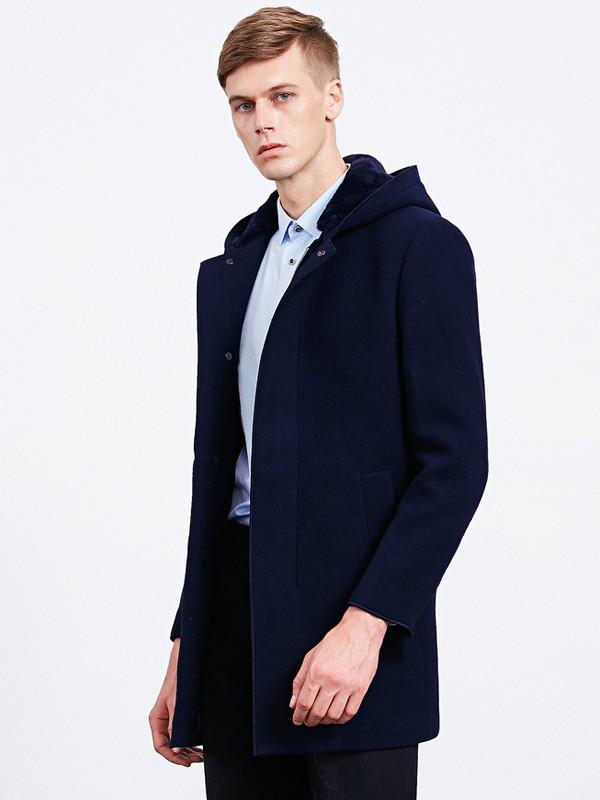 沙驰国际男装品牌2020秋冬棉麻中长款连帽外套