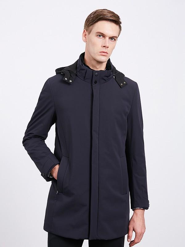 沙驰国际男装品牌2020秋冬立领中长款外套