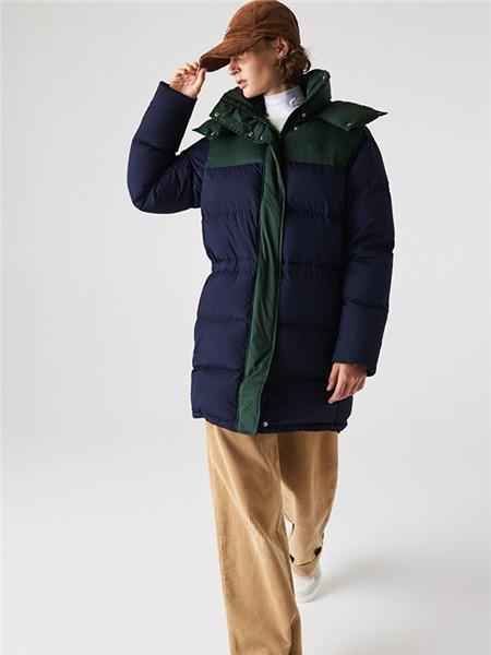 法国鳄鱼休闲品牌2020秋冬撞色中长款羽绒服