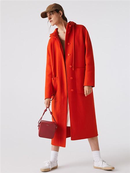 法国鳄鱼休闲品牌2020秋冬红色系扣长款大衣