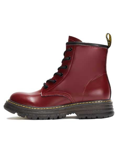 红蜻蜓鞋帽/领带品牌2020秋冬女士透明果冻底马丁靴