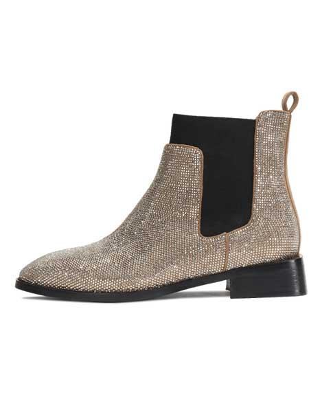 红蜻蜓鞋帽/领带品牌2020秋冬女士切尔西烫钻短靴