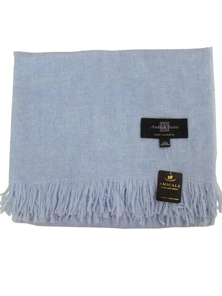安美桥丝巾品牌2020秋季蓝色羊绒披肩