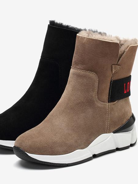 TATA他她鞋帽/领带品牌2020秋冬专柜同款厚底毛里靴百搭时装靴潮套筒女短靴