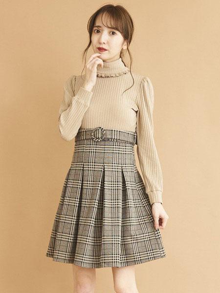 titty&co女装品牌2020秋冬花边领口针织衫褶皱格子纹半身裙