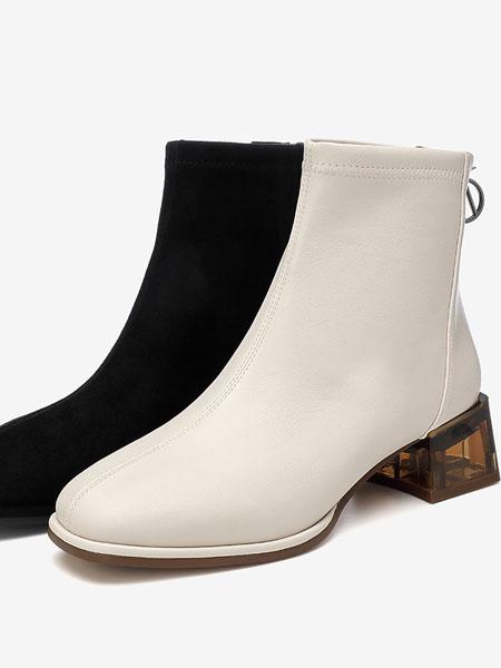 百思图鞋帽/领带品牌2020秋冬商场新款粗跟休闲百搭女弹力瘦瘦靴短靴