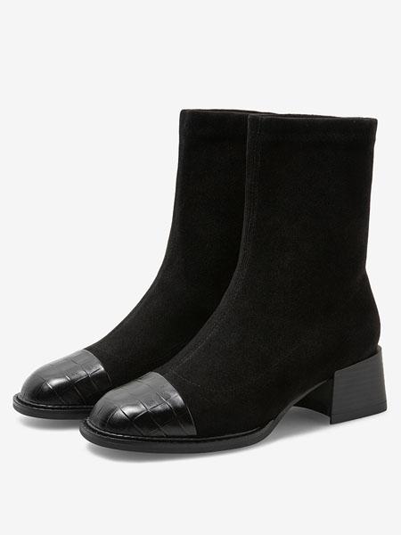 百思图鞋帽/领带品牌2020秋冬新款商场同款潮酷圆头粗跟弹力靴女短靴