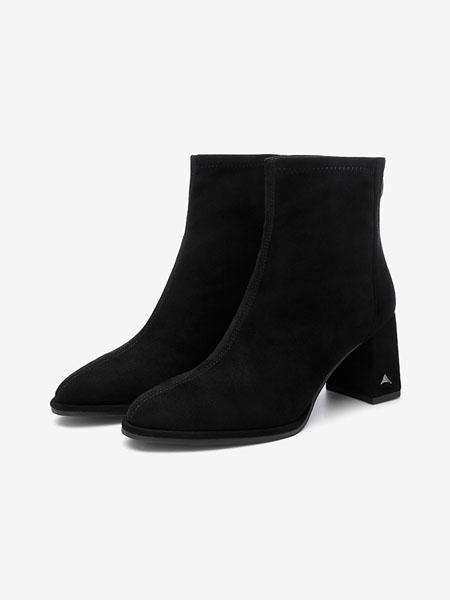 百思图鞋帽/领带品牌2020秋冬新款圆头粗跟高跟袜靴瘦瘦靴弹力靴女短靴
