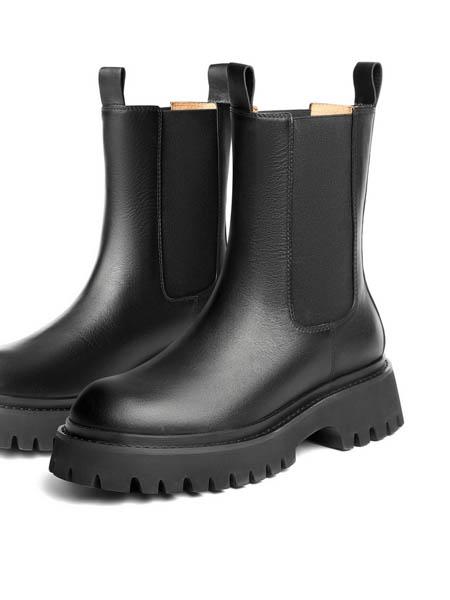 百丽 BELLE鞋帽/领带品牌2020秋冬厚底切尔西靴女新款烟筒皮短靴绒