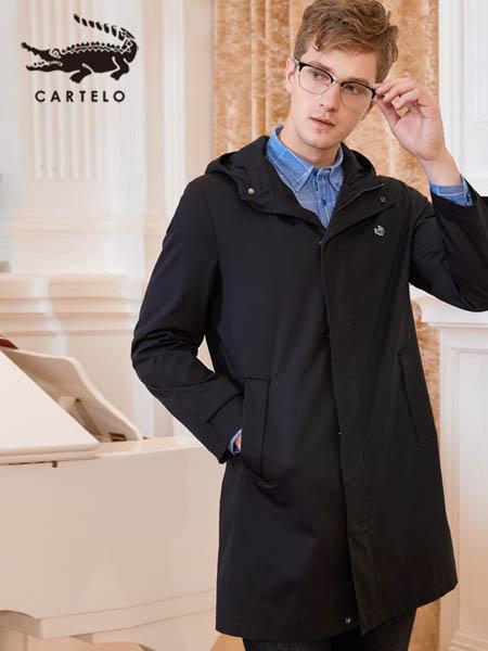 卡帝乐鳄鱼CARTELO休闲品牌黑色大衣简约logo印花