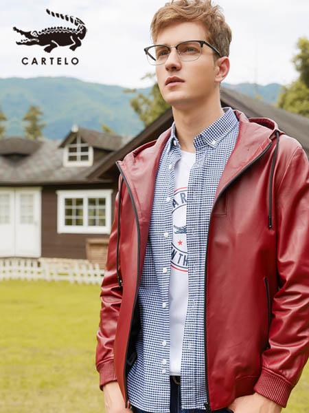 卡帝乐鳄鱼CARTELO休闲品牌红色反亮皮衣休闲潮流青年皮衣