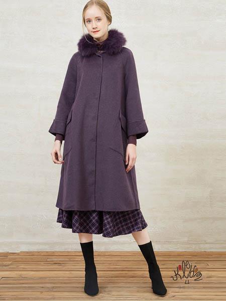 showlong、舒朗、美之藤、高歌女装品牌2020秋冬紫灰色加绒长款大衣