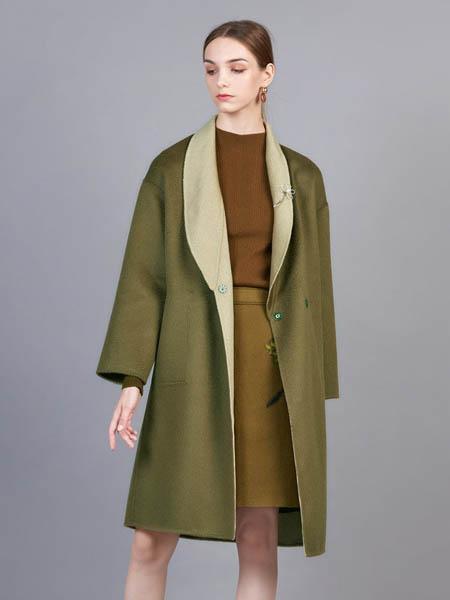 showlong、舒朗、美之藤、高歌女装品牌2020秋冬藏青色双面呢毛绒外套
