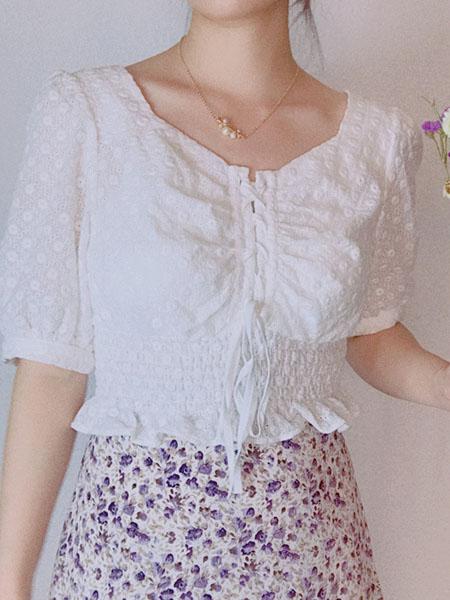 L89℃/MM+/NWT女装品牌2020春夏白色印花斑点上衣