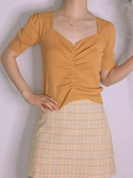 L89℃/MM+/NWT女装品牌2020春夏黄色元气少女上衣