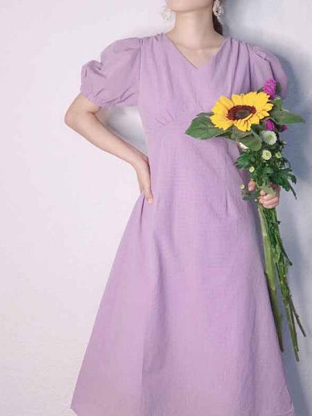 L89℃/MM+/NWT女装品牌2020春夏紫色长款连衣裙