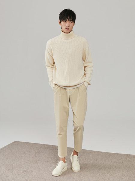 THESSNCE男装女装品牌2020秋冬米白色立领加绒卫衣