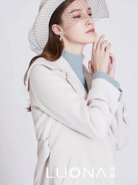 珞娜女装品牌2020秋冬白色长款羊绒毛呢大衣