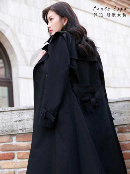 MonteLupo梦珀女装品牌2020秋冬会黑色长款毛呢大衣