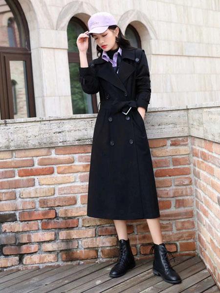 MonteLupo梦珀女装品牌2020秋冬黑色系腰瘦身毛呢大衣