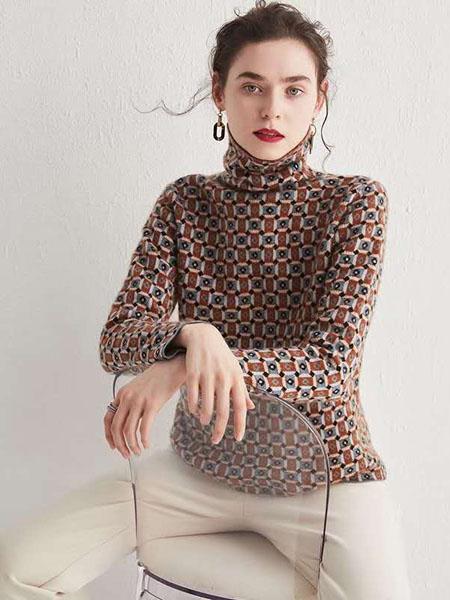 米亚康女装品牌2020秋冬潮流不规则印花羊绒上衣