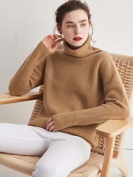 米亚康女装品牌2020秋冬休闲高领卡其色针织毛衣
