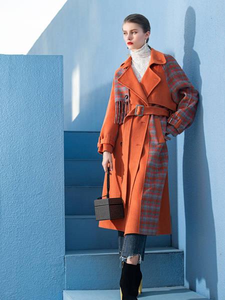 例格女装品牌2020秋冬橙色格子印花系腰长款外大衣