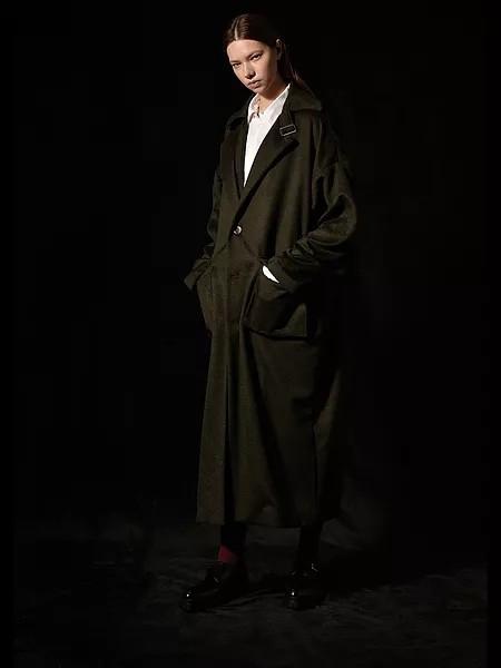 Ziekmess男装品牌2020秋冬墨绿色长款毛呢大衣