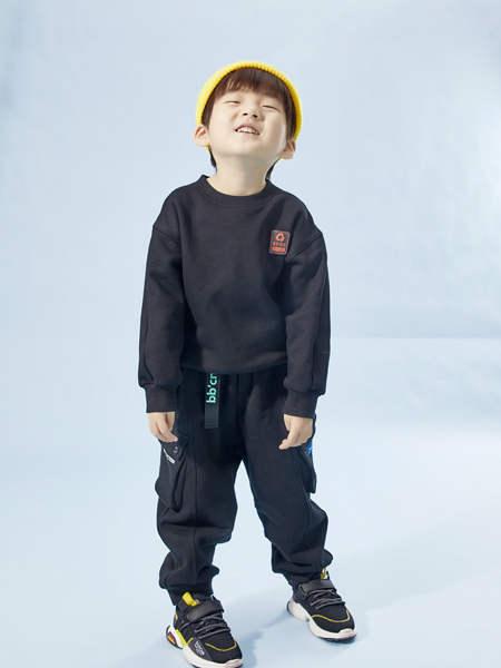 BBCQ kids童装品牌2020秋冬男童黑色毛绒卫衣