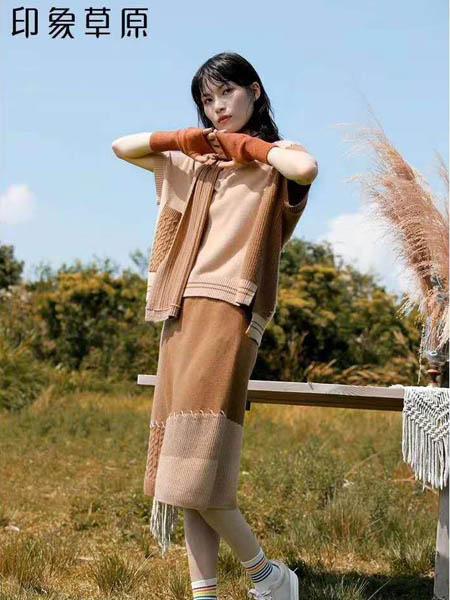 印象草原女装品牌2020秋冬时尚拼色针织套装
