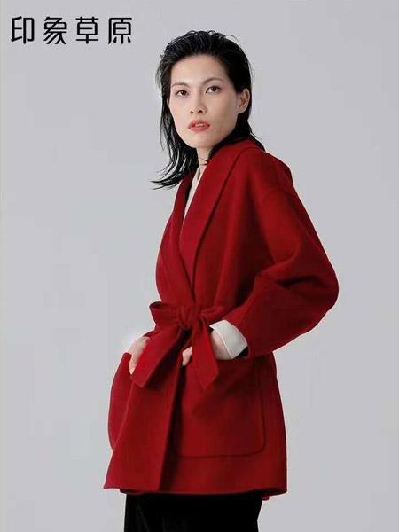 印象草原女装品牌2020秋冬高贵红色系腰毛呢外套