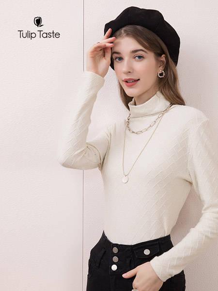 郁香菲女装品牌2020秋冬新品短款针织上衣纯色修身毛衣女长袖高领打底衫