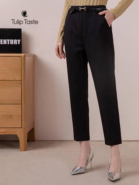 郁香菲女装品牌2020秋冬新品毛呢小脚裤矮个子垂感显瘦萝卜裤气质西装裤女