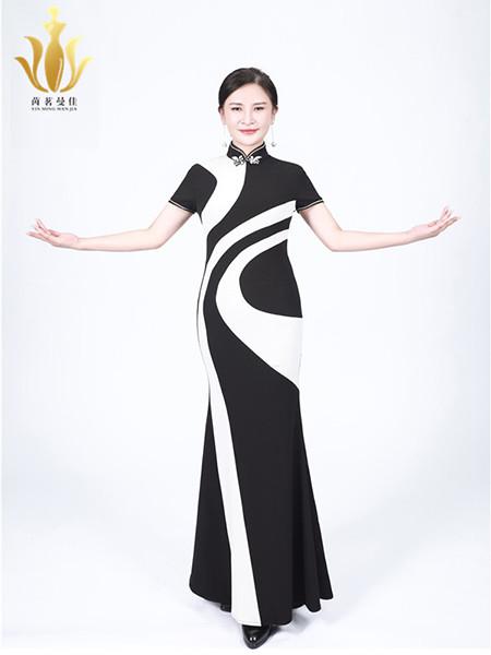茵茗曼佳女装品牌2020秋季黑白短袖民族风旗袍