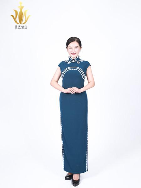 茵茗曼佳女装品牌2020秋季纯色印花短袖蓝色旗袍