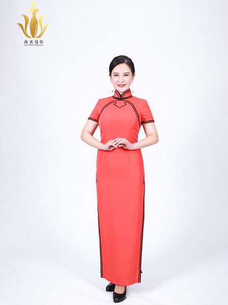 茵茗曼佳女装品牌2020秋季时尚短袖红色旗袍
