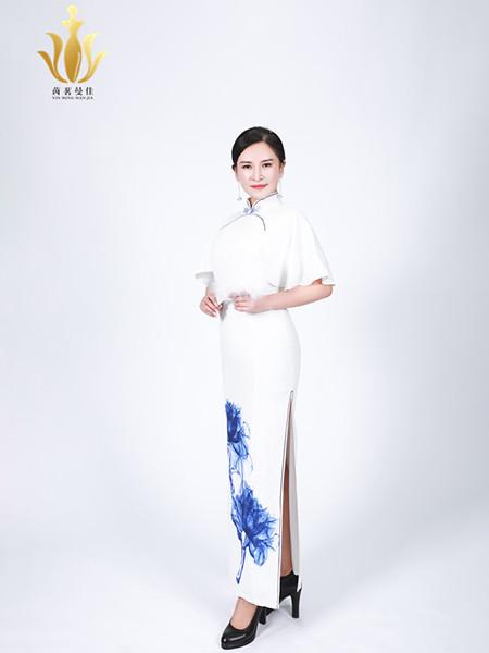 茵茗曼佳女装品牌2020秋季国风白色青花旗袍