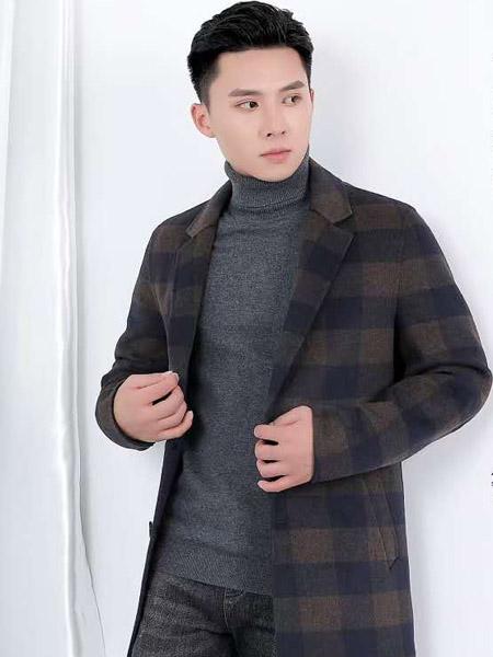 西域骆驼男装品牌2020秋冬褐色格子毛呢外套