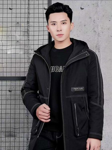 西域骆驼男装品牌2020秋冬黑色长袖时尚外套